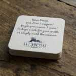 letterpress beermats for wedding